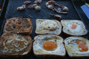 Eggs and bread on bbq